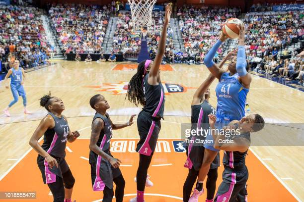 Alaina Coates of the Chicago Sky shoots defended by Jonquel Jones of the Connecticut Sun during the Connecticut Sun Vs Chicago Sky WNBA regular...