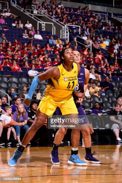 Alaina Coates of the Chicago Sky vies for the rebound against Stephanie Talbot of the Phoenix Mercury on July 25 2018 at Talking Stick Resort Arena...