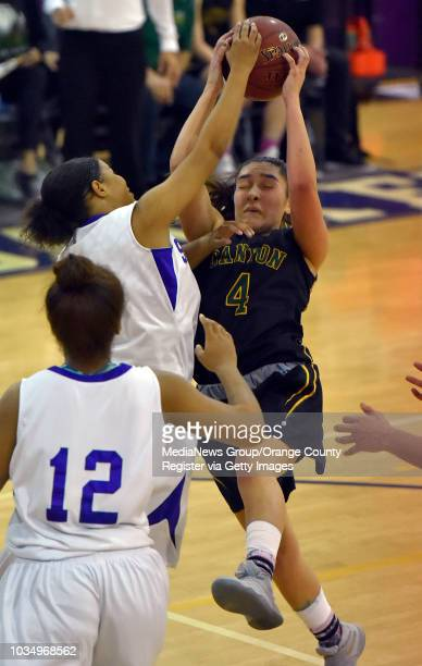 Alaina Garcia of Canyon fights for a rebound in Long Beach CA on Saturday February 25 2017 St Anthony lost to Canyon girls basketball 6258 in the...