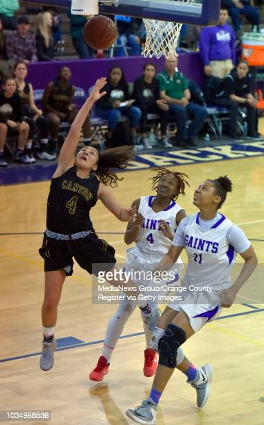 Alaina Garcia scores for Canyon in Long Beach CA on Saturday February 25 2017 St Anthony lost to Canyon girls basketball 6258 in the CIFSS Div 1AA...