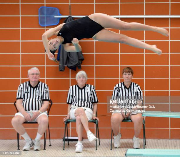 Alaina Hellenberg of Skyline competes in diving at the Longmont City Girls Swim Meet on Saturday Friday