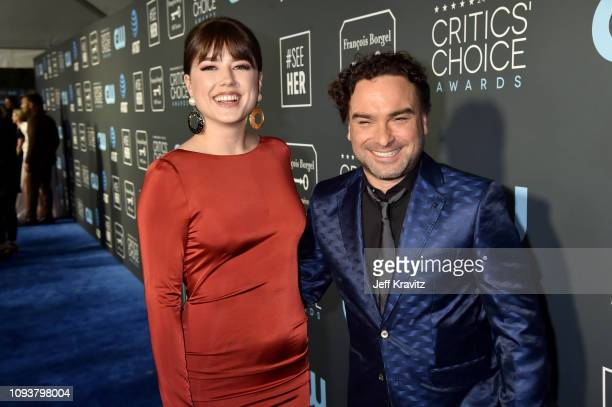 Alaina Meyer and Johnny Galecki at The 24th Annual Critics' Choice Awards at Barker Hangar on January 13 2019 in Santa Monica California