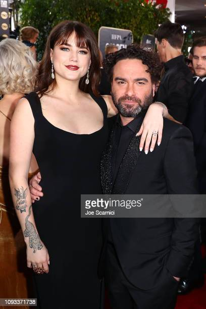 Alaina Meyer and Johnny Galecki attend Moet Chandon at The 76th Annual Golden Globe Awards at The Beverly Hilton Hotel on January 6 2019 in Beverly...