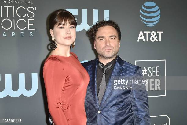 Alaina Meyer and Johnny Galecki attend the 24th Annual Critics' Choice Awards Arrivals at Barker Hangar on January 13 2019 in Santa Monica California