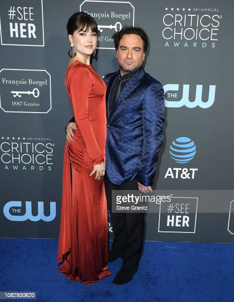 Alaina Meyer Johnny Galecki arrives at the The 24th Annual Critics' Choice Awards attends The 24th Annual Critics' Choice Awards at Barker Hangar on...