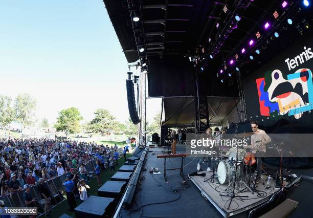 Alaina Moore and Patrick Riley of Tennis perform on the Paper Stage during day 1 of Grandoozy on September 14 2018 in Denver Colorado