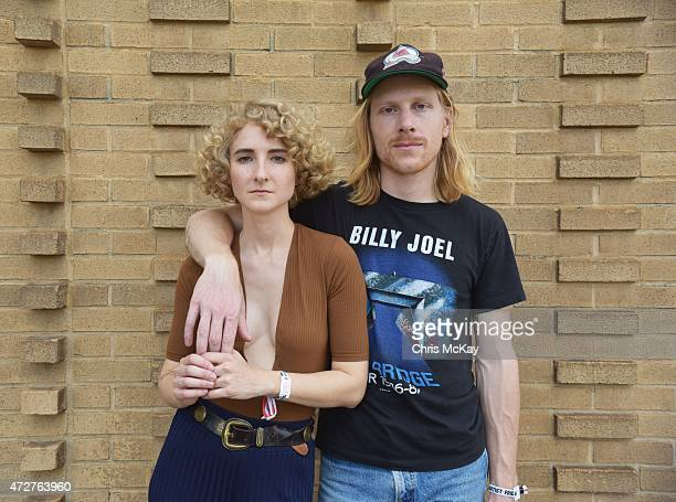 Alaina Moore and Patrick Riley of Tennis pose for a portrait during day 1 of the 3rd Annual Shaky Knees Music Festival at Atlanta Central Park on May...