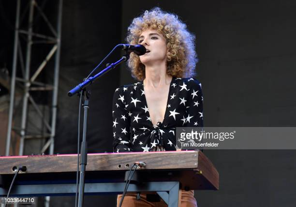 Alaina Moore of Tennis performs during the 2018 Grandoozy Festival at Overland Park Golf Course on September 14 2018 in Denver Colorado