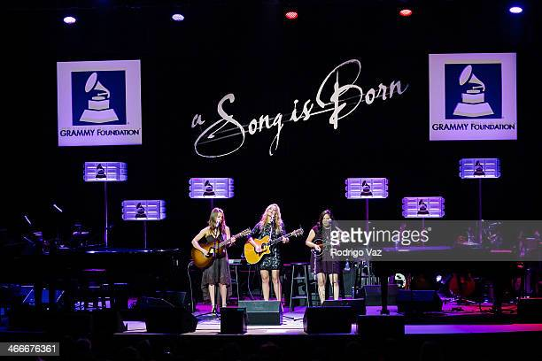 Alaina Stacey Katy Bishop and Kristen Castro of Maybe April perform at 'A Song Is Born' 16th Annual GRAMMY Foundation Legacy Concert Show at The...