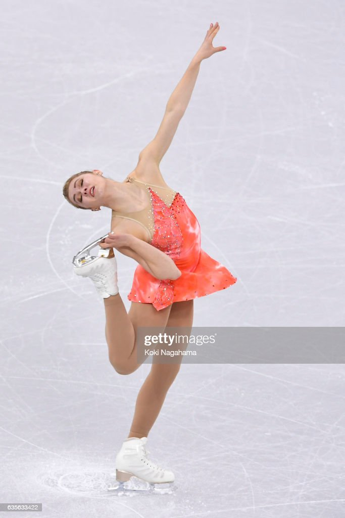 Alaine Chartrand of Canada competes in the Ladies Short Program during ISU Four Continents Figure Skating Championships - Gangneung -Test Event For PyeongChang 2018 at Gangneung Ice Arena on February 16, 2017 in Gangneung, South Korea.