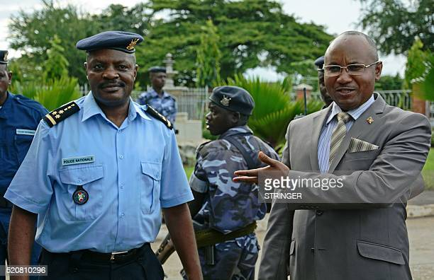 AlainGuillaume Bunyoni Burundian Minister of Security talks with a police officer in Bujumbura on April 12 2016 A year after Burundi was plunged into...