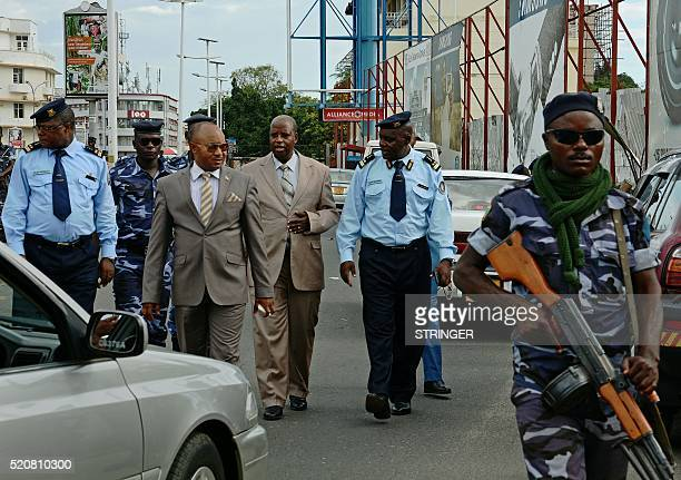AlainGuillaume Bunyoni Burundian Minister of Security walks with police in Bujumbura on April 12 2016 A year after Burundi was plunged into chaos...
