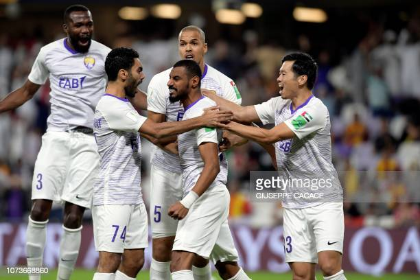 AlAin's defender Mohamed Ahmed celebrates after scoring a goal during the second round match of the FIFA Club World Cup 2018 football tournament...