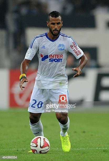 Alaixis Romao of Marseille in action during the French Ligue 1 match between Olympique de Marseille and OGC Nice at Stade Velodrome on August 29 2014...