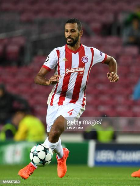 Alaixys Romao of Olympiakos in action during the UEFA Champions League group D match between FC Barcelona and Olympiakos Piraeus at Camp Nou on...