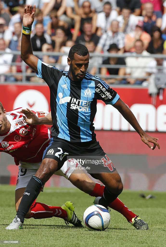 Alaixys Romao of Olympique de Marseille in action during the French Ligue 1 match between Stade de Reims and Olympique de Marseille (OM) at Stade Auguste Delaune on August 16, 2015 in Reims, France.