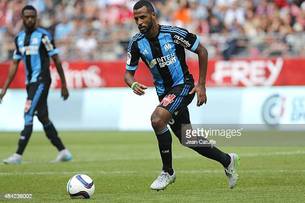 Alaixys Romao of Olympique de Marseille in action during the French Ligue 1 match between Stade de Reims and Olympique de Marseille at Stade Auguste...