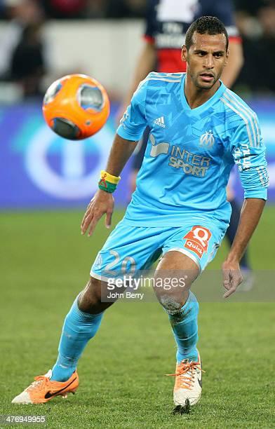 Alaixys Romao of Olympique de Marseille in action during the Ligue 1 match between Paris SaintGermain FC and Olympique de Marseille at Parc des...