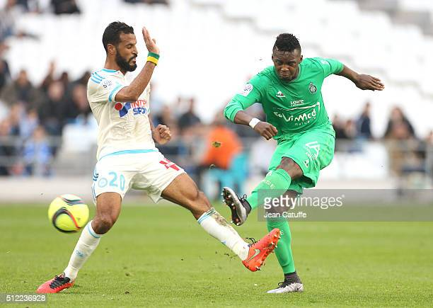 Alaixys Romao of OM and JeanChristophe Bahebeck of SaintEtienne in action during the French Ligue 1 match between Olympique de Marseille and AS...