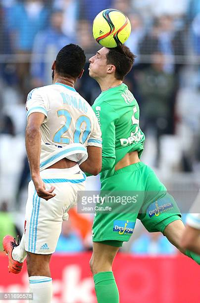 Alaixys Romao of OM and Vincent Pajot of SaintEtienne in action during the French Ligue 1 match between Olympique de Marseille and AS SaintEtienne at...