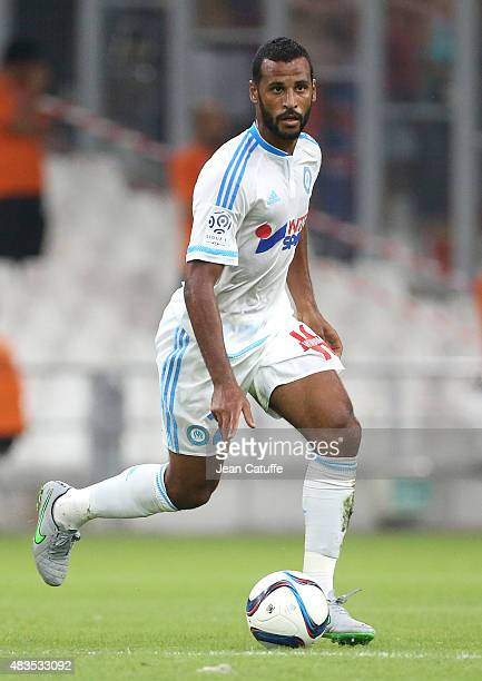 Alaixys Romao of OM in action during the French Ligue 1 match between Olympique de Marseille and SM Caen at Stade Velodrome on August 8 2015 in...