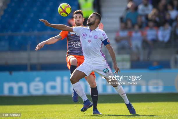 Alaixys Romao of Stade de Reims challenged by Damien Le Tallec of Montpellier during the Montpellier Vs Stade de Reims French Ligue 1 regular season...