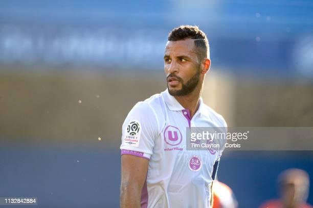 Alaixys Romao of Stade de Reims during the Montpellier Vs Stade de Reims French Ligue 1 regular season match at Stade de la Mosson on February 24th...
