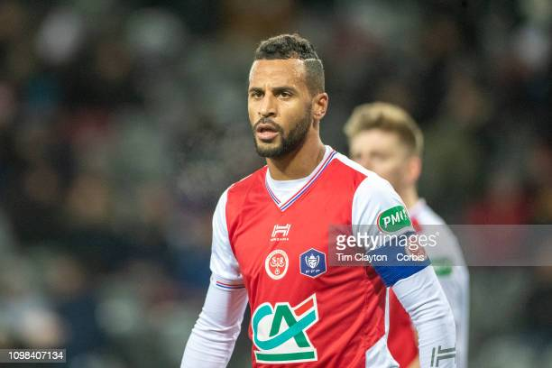 Alaixys Romao of Stade de Reims during the Toulouse FC V Stade de Reims Coupe de France match at the Stadium Municipal de Toulouse on January 22nd...