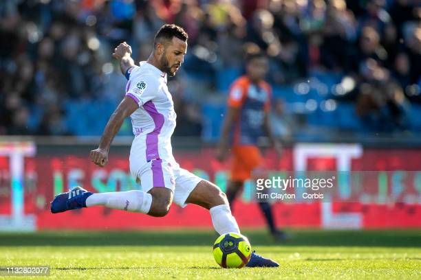 Alaixys Romao of Stade de Reims in action during the Montpellier Vs Stade de Reims French Ligue 1 regular season match at Stade de la Mosson on...