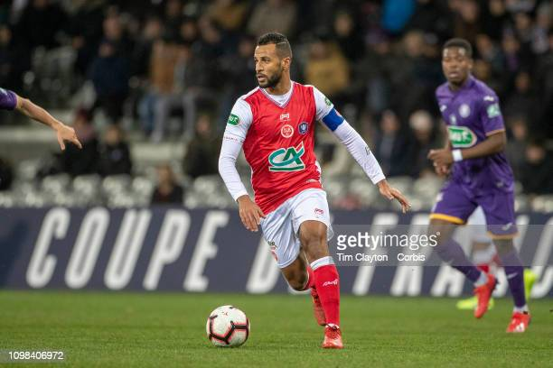 Alaixys Romao of Stade de Reims in action during the Toulouse FC V Stade de Reims Coupe de France match at the Stadium Municipal de Toulouse on...