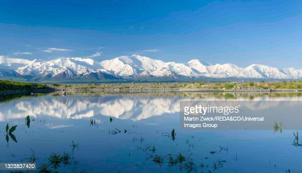 alaj valley and pamir mountain range, kyrgyzstan. - osh stock pictures, royalty-free photos & images