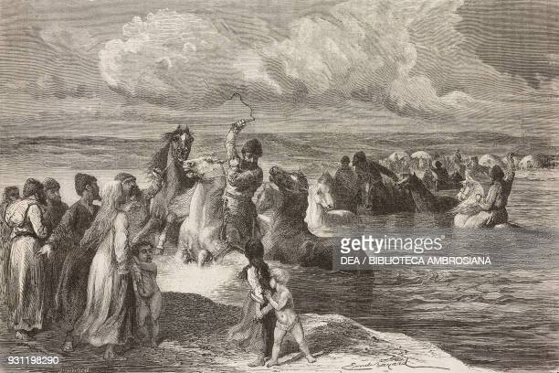 Alaman plundering slaves and horses drawing by Emile Bayard from Travels in central Asia by Armin Vambery from Il Giro del mondo Journal of geography...