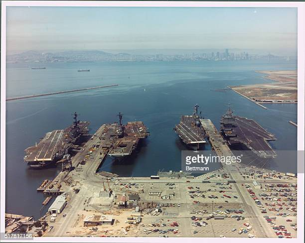 Four attack aircraft carriers for the first time in the history of the Alameda Naval air station are shown tied up at air station pier 7/30 They are...