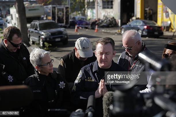 Alameda County Sheriff's Department Sergeant Ray Kelly speaks at a press conference following an overnight fire that claimed the lives of at least...