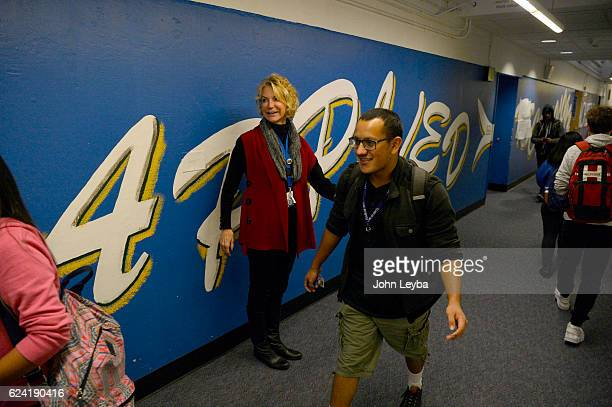 Alameda high school principal Susie Van Scoyk greets students in the old section of the school November 17 2016 The states second largest district...