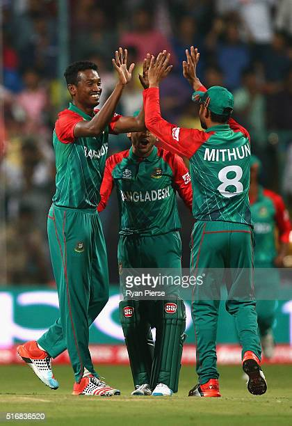 AlAmin Hossain of Bangladesh celebrates after taking the wicket of Usman Khawaja of Australia during the ICC World Twenty20 India 2016 Super 10s...