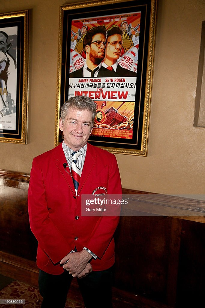 Alamo Drafthouse Co-Founder and CEO Tim League poses in the lobby before a screening of Sony Pictures' 'The Interview' which opens on Christmas Day, December 25, 2014 in Austin, Texas. Sony hackers have been releasing stolen information and threatened attacks on theaters which screened the film.