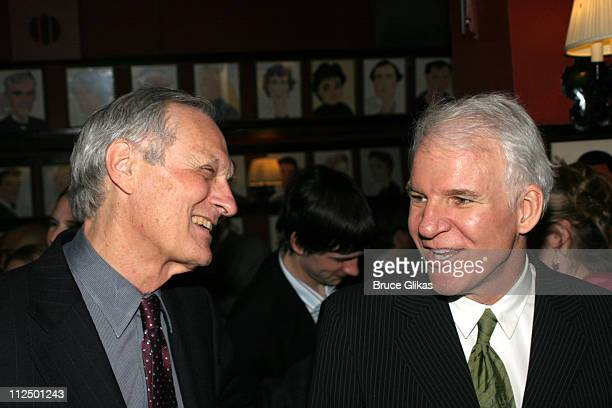 Alan Alda and Steve Martin during Glengarry Glen Ross Broadway Opening Night Curtain Call and After Party at The Royale Theater and Sardi's in New...