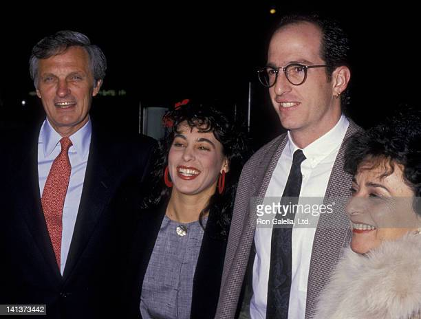 Alan Alda daughter Eve Alda and wife Arlene Weiss attend the premiere of 'A New Life' on March 21 1988 at the Paramount Theater in New York City