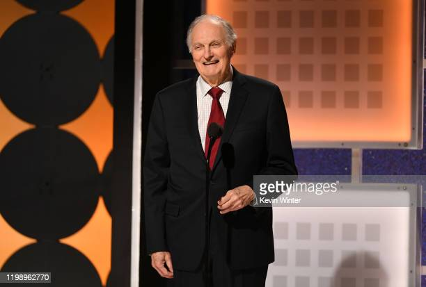 Alan Alda speaks onstage during AARP The Magazine's 19th Annual Movies For Grownups Awards at Beverly Wilshire A Four Seasons Hotel on January 11...