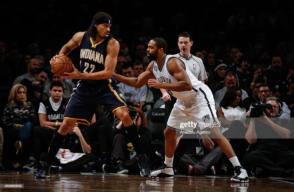 Alan Anderson (R) of Brooklyn Nets in action against Chris Copeland #22 of Indiana Pacers during an NBA game on December 27, 2014 at Barclays Center in Brooklyn, New York.