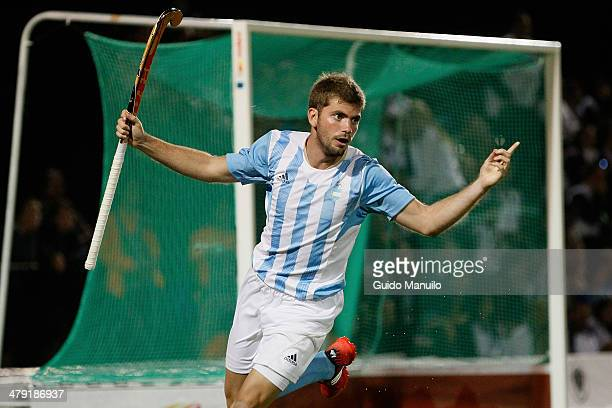 Alan Andino of Argentina celebrates after scoring during Men's Hockey final match between Argentina and Chile on day 10 of the X South American Games...