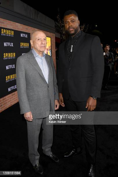 "Alan Arkin and Winston Duke attend the Premiere of Netflix's ""Spenser Confidential"" at Regency Village Theatre on February 27, 2020 in Westwood,..."