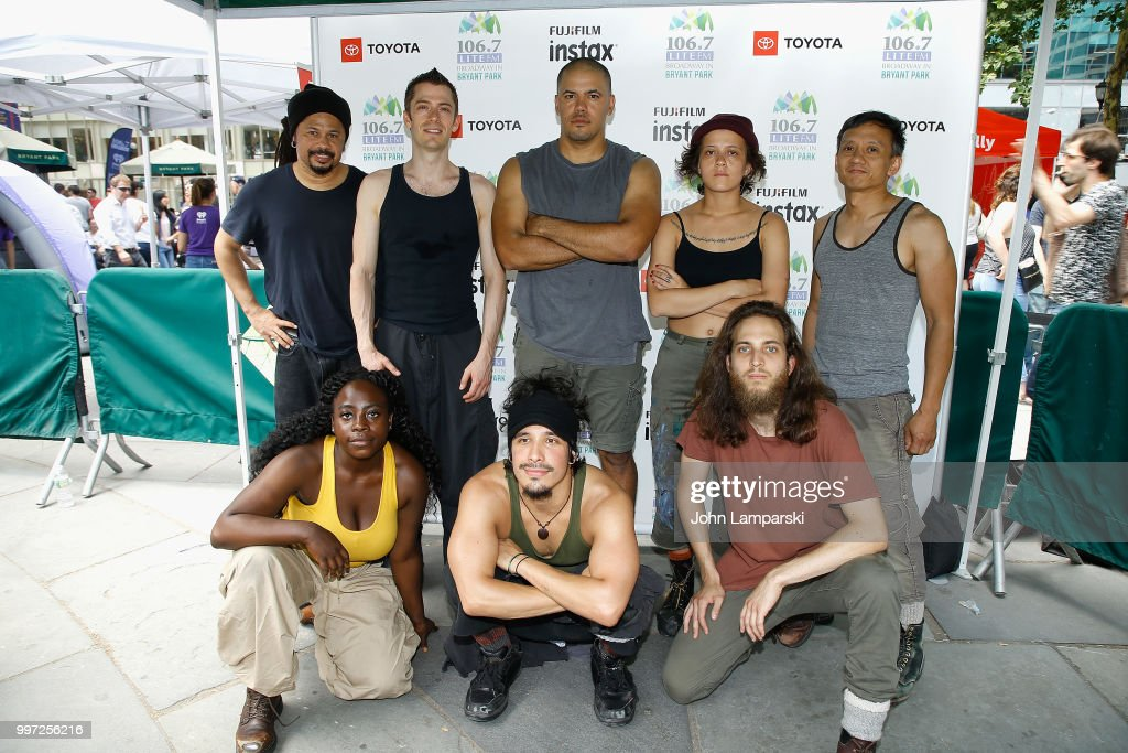 Alan Asuncion, Ivan Salazar, John Gavin, Josh Cruz, Kya Cowart, Marivaldo Dos Santos Simeon Weedall and Taylor Lee of 'Stomp' perform during 106.7 LITE FM's Broadway in Bryant Park on July 12, 2018 in New York City.