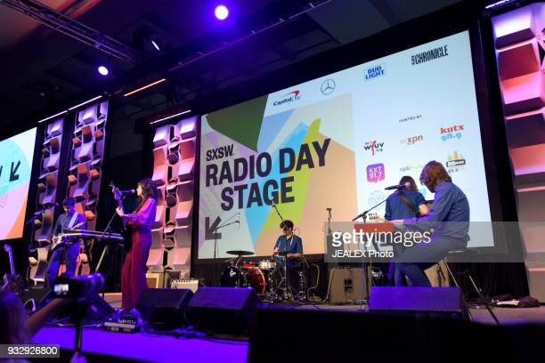 Alan Barker Eric Slick Natalie Prass Dominic Angelella and Jacob Underliner perform at Radio Day Stage during SXSW at Radio Day Stage on March 16...
