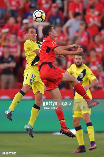 Alan Baro Calabuig of the Mariners competes for the ball during the round 12 ALeague match between Adelaide United and the Central Coast Mariners at...