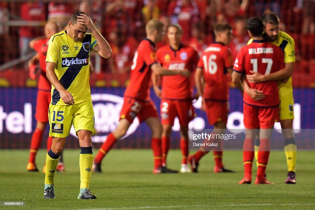 Alan Baro Calabuig of the Mariners looks on dejected after the final whistle during the round 12 A-League match between Adelaide United and the Central Coast Mariners at Coopers Stadium on December 26, 2017 in Adelaide, Australia.