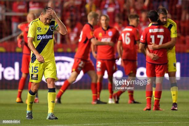 Alan Baro Calabuig of the Mariners looks on dejected after the final whistle during the round 12 ALeague match between Adelaide United and the...