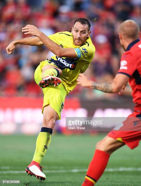 Alan Baro Calabuig of the Mariners shoots for goal during the round 20 ALeague match between Adelaide United and the Central Coast Mariners at...