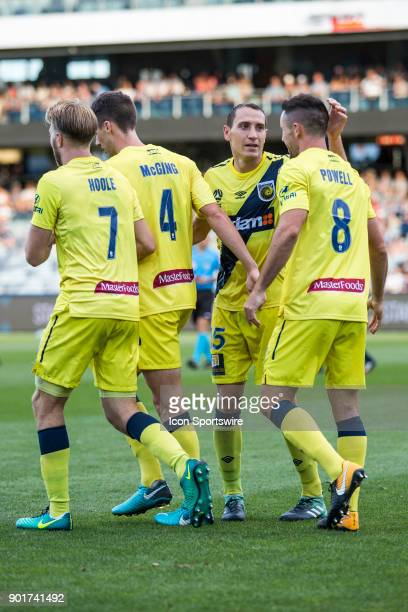Alan Baro of the Central Coast Mariners Blake Powell of the Central Coast Mariners Jake McGing of the Central Coast Mariners and Andrew Hoole of the...
